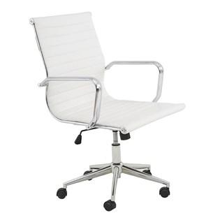 Cadeira De Escritório Presidente Charles Eames Esteira Baixa - Cor Branca