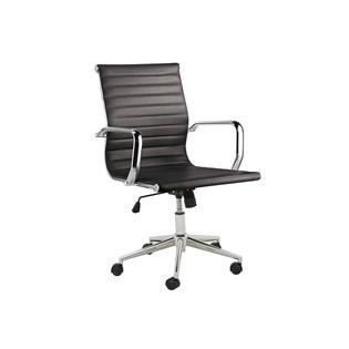 Cadeira De Escritório Presidente Charles Eames Esteira Baixa - Cor Preta