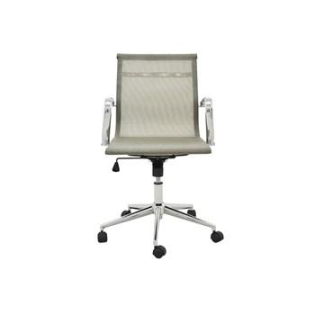 Cadeira De Escritório Presidente Eames Esteira Baixa  em Tela - Cor Dourada
