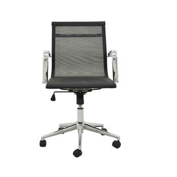 Cadeira de Escritório Presidente Eames Esteira Baixa  em Tela - Cor Preta