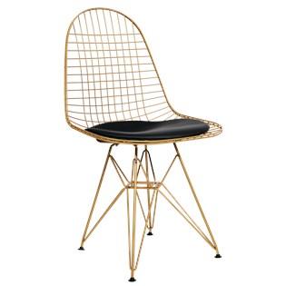 Cadeira Eames Aramada - Aço Dourado Fosco - Almofada Preta