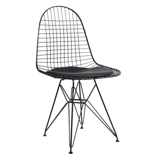 Cadeira Eames Aramada - Aço Preto - Almofada Preta