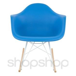 Cadeira Eames Eiffel Balanço - Base em Aço Branco e Madeira Clara - Assento Cor Azul