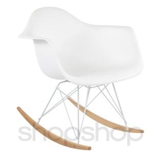 Cadeira Eames Eiffel Balanço - Base em Aço Branco e Madeira Clara - Assento Cor Branca