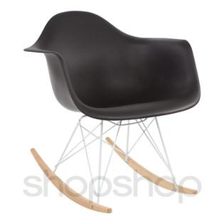 Cadeira Eames Eiffel Balanço - Base em Aço Branco e Madeira Clara - Assento Cor Preta