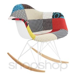 Cadeira Eames Eiffel Balanço - Base em Aço Branco e Madeira Clara - Assento em Patchwork  (Revestido Frente)