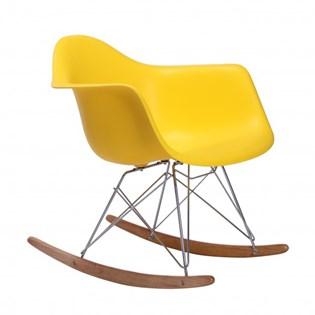 Cadeira Eames Eiffel Balanço - Base em Aço Cromado e Madeira Clara - Assento Cor Amarela