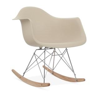 Cadeira Eames Eiffel Balanço - Base em Aço Cromado e Madeira Clara - Assento Cor Bege