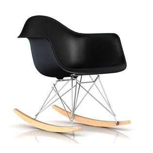 Cadeira Eames Eiffel Balanço - Base em Aço Cromado e Madeira Clara - Assento Cor Preta