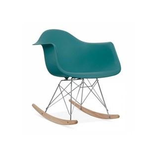 Cadeira Eames Eiffel Balanço - Base em Aço Cromado e Madeira Clara - Assento Cor Turquesa