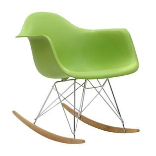 Cadeira Eames Eiffel Balanço - Base em Aço Cromado e Madeira Clara - Assento Cor Verde