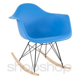 Cadeira Eames Eiffel Balanço - Base em Aço Preto e Madeira Clara - Assento Cor Azul