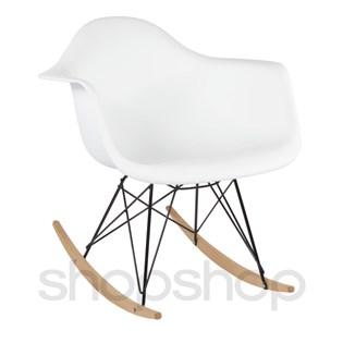 Cadeira Eames Eiffel Balanço - Base em Aço Preto e Madeira Clara - Assento Cor Branca
