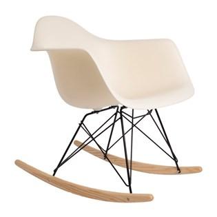 Cadeira Eames Eiffel Balanço - Base em Aço Preto e Madeira Clara - Assento Cor Creme