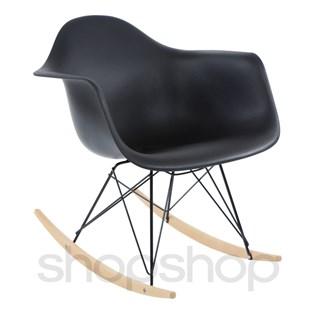 Cadeira Eames Eiffel Balanço - Base em Aço Preto e Madeira Clara - Assento Cor Preta