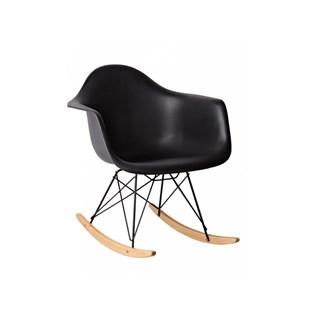 Cadeira Eames Eiffel Balanço - Base em Aço Preto e Madeira Clara - Assento em Policarbonato - Cor Preta com Brilho