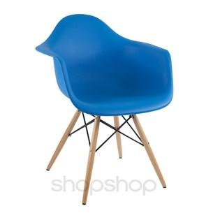 Cadeira Eames Eiffel Com Braços e Base Madeira - Assento em Polipropileno Cor Azul Bic