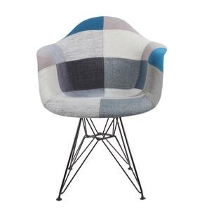 Cadeira Eames Eiffel Com Braços e Base Metal Preto - Assento Revestido em Patchwork Azul e Cinza (Frente)