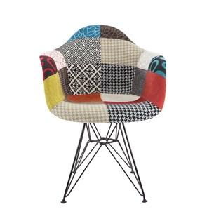 Cadeira Eames Eiffel Com Braços e Base Metal Preto - Assento Revestido em Patchwork (Frente)