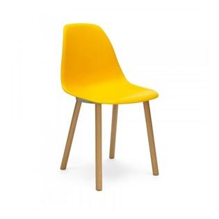 Cadeira Eames Eiffel Sem Braços Com Base Hal - Assento em Polipropileno - Cor Amarela
