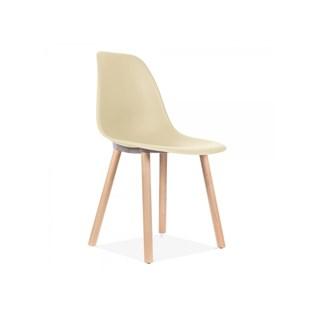 Cadeira Eames Eiffel Sem Braços Com Base Hal - Assento em Polipropileno - Cor Bege