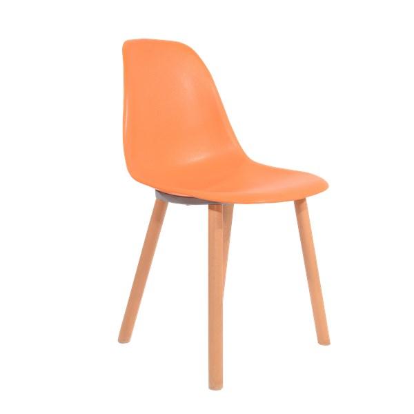 Cadeira Eames Eiffel Sem Braços Com Base Hal - Assento em Polipropileno - Cor Laranja