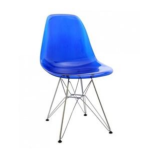 Cadeira Eames Eiffel Sem Braços Com Base Metal Cromado - Assento em Policarbonato Azul