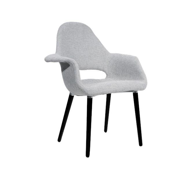 Cadeira Eames Organic - Base Preta - Cor Cinza
