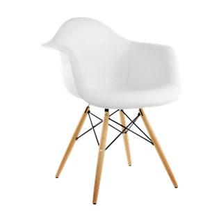 Cadeira Eiffel Com Braços - Base Madeira - Assento PU - Cor Branca