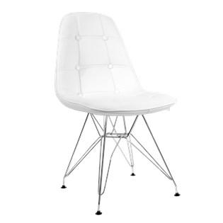 Cadeira Eiffel  Sem Braços - Base Cromada - Assento em Botonê Branca