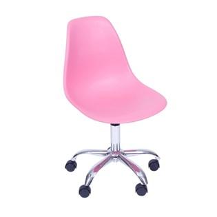 Cadeira Eiffel sem Braços - Base de Rodízios Cromada - Assento em Polipropileno - Cor Rosa