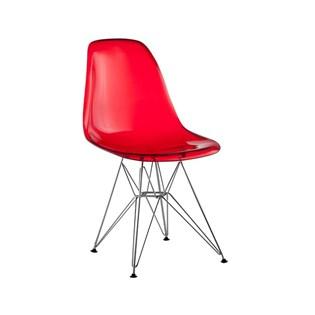 Cadeira Eiffel Sem Braços - Base em Aço Cromado - Assento em Policarbonato Vermelho