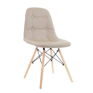 Cadeira Eiffel  Sem Braços - Base Madeira - Assento em Botonê Bege / Nude