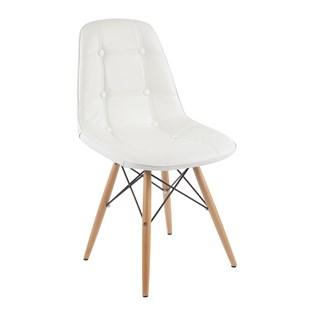 Cadeira Eiffel  Sem Braços - Base Madeira - Assento em Botonê Branca