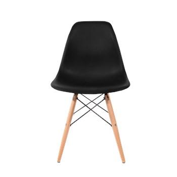 Cadeira Eiffel Sem Braços - Base Madeira - Cor Preta