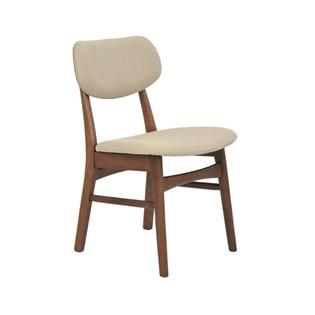 Cadeira Erica Encosto Estofado e Revestimento em Linho - Cor Bege