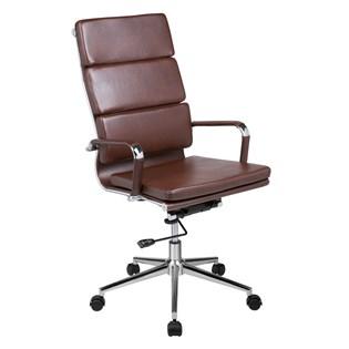 Cadeira Escritório Presidente Eames Almofada Alta - Cor Marrom