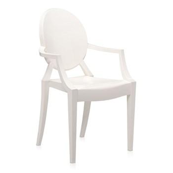 Cadeira Ghost com Braços em Policarbonato  - Cor Branca Off White