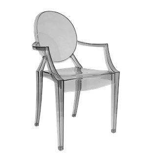 Cadeira Ghost com Braços em Policarbonato - Cor Fumê