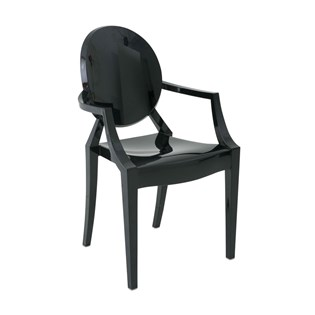 Cadeira Ghost com Braços em Policarbonato - Cor Preta