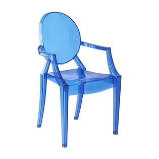Cadeira Ghost em Policarbonato Com Braços - Cor Azul Clara