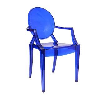 Cadeira Ghost em Policarbonato Com Braços - Cor Azul Escura