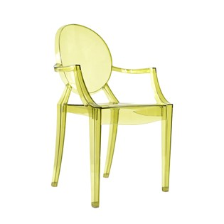 Cadeira Ghost em Policarbonato Com Braços - Cor Oliva