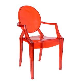 Cadeira Ghost em Policarbonato Com Braços - Cor Vermelha