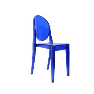 Cadeira Ghost Sem Braços em Policarbonato -  Cor Azul Escura