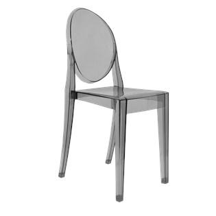Cadeira Ghost Sem Braços em Policarbonato - Cor Fumê