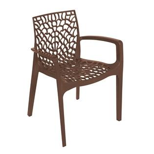 Cadeira Gruvyer com Braços - Cor Marrom