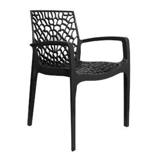 Cadeira Gruvyer com Braços - Cor Preta