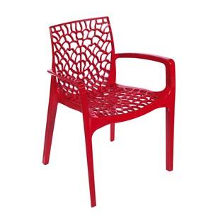 Cadeira Gruvyer com Braços - Cor Vermelha
