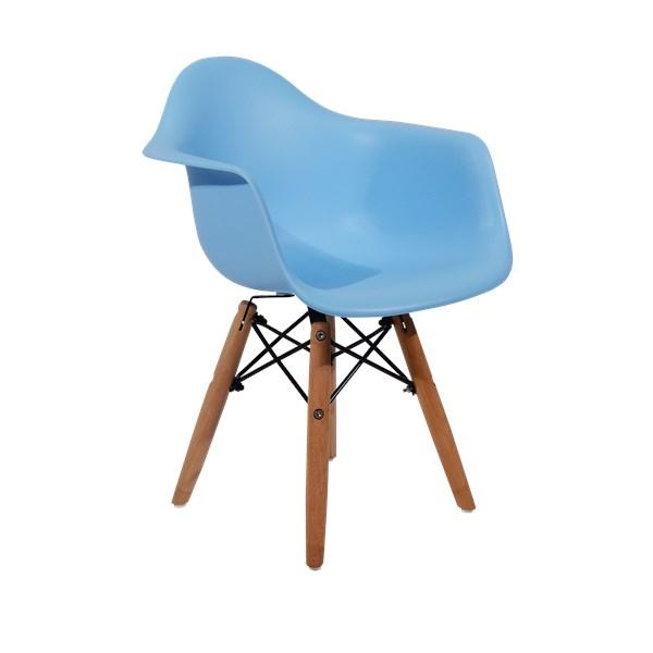 Cadeira Infantil Eiffel Com Braços Kids - Base Madeira - Cor Azul